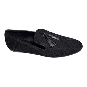 ZARA Basic Glitter Tassel Flats Black Size 8